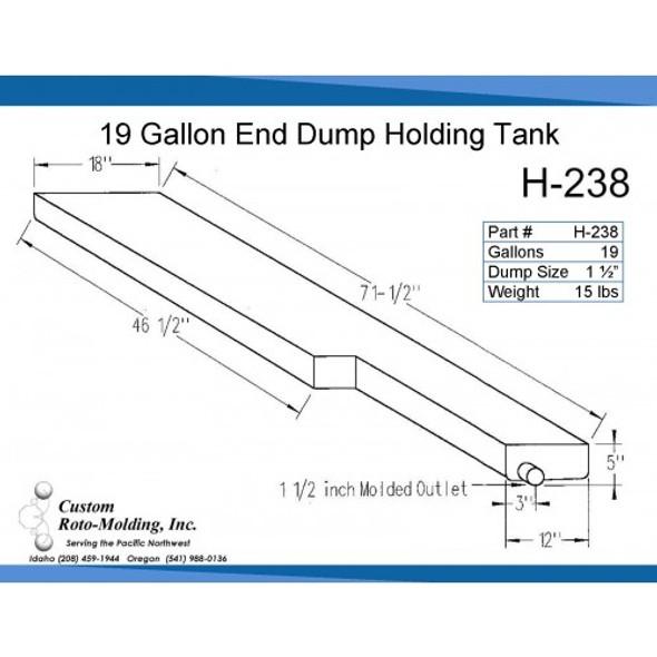 19 Gallon L-Shaped End Dump Holding Tank | H-238