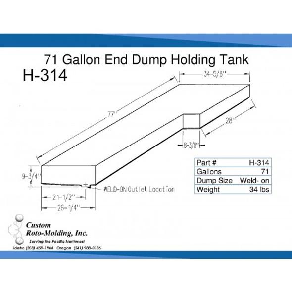 71 Gallon L-Shaped End Dump Holding Tank | H-314