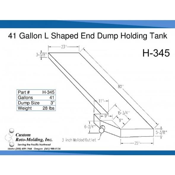 41 Gallon L-Shaped End Dump Holding Tank | H-345