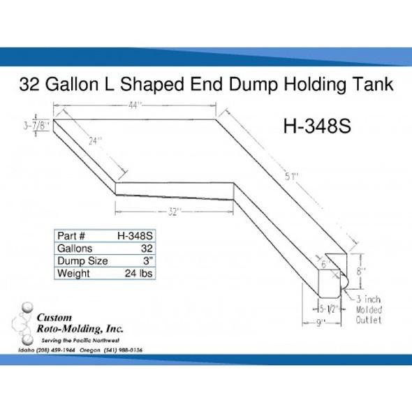 32 Gallon L-Shaped End Dump Holding Tank | H-348S