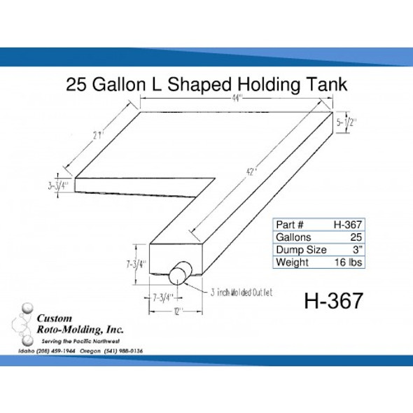 25 Gallon L-Shaped End Dump Holding Tank | H-367