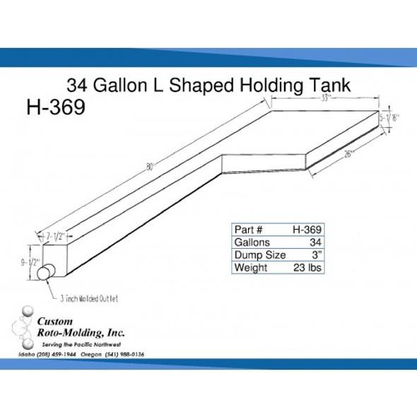 34 Gallon L-Shaped End Dump Holding Tank | H-369