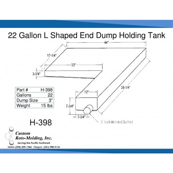 22 Gallon L-Shaped End Dump Holding Tank | H-398