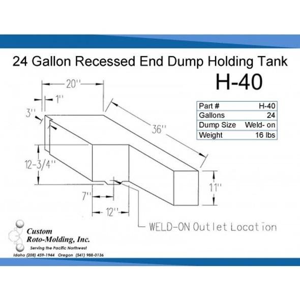 24 Gallon L-Shaped End Dump Holding Tank | H-40