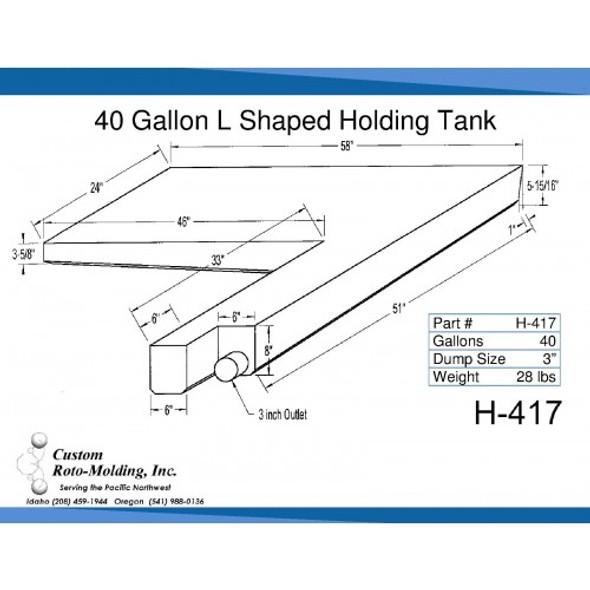 40 Gallon L-Shaped End Dump Holding Tank | H-417
