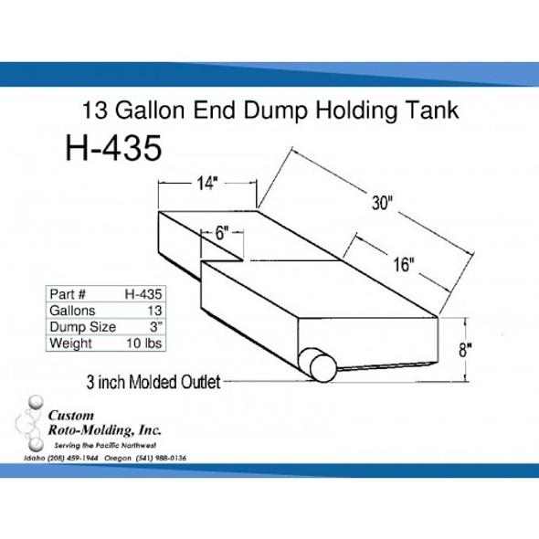 13 Gallon L-Shaped End Dump Holding Tank | H-435