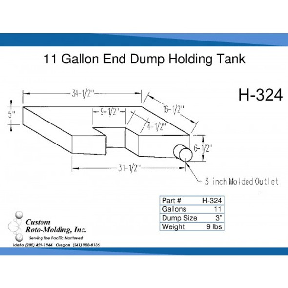 11 Gallon Side Dump RV Holding Tank | H-324