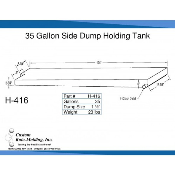 35 Gallon Side Dump RV Holding Tank | H-416