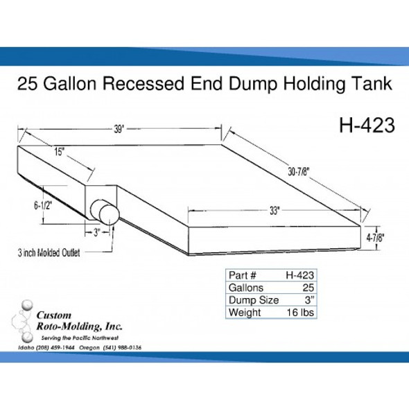25 Gallon Side Dump RV Holding Tank | H-423