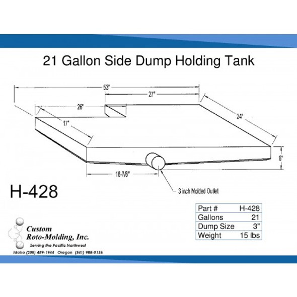 21 Gallon Side Dump RV Holding Tank | H-428