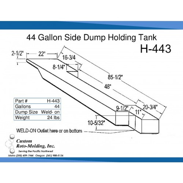 44 Gallon Side Dump RV Holding Tank | H-443