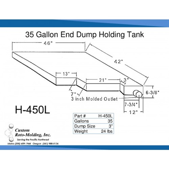 35 Gallon Side Dump RV Holding Tank | H-450L