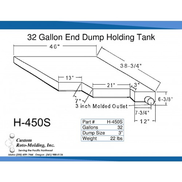 32 Gallon Side Dump RV Holding Tank | H-450S