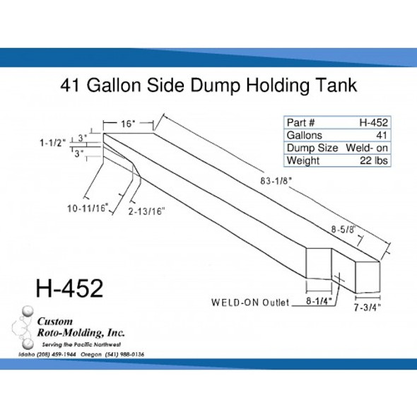41 Gallon Side Dump RV Holding Tank | H-452