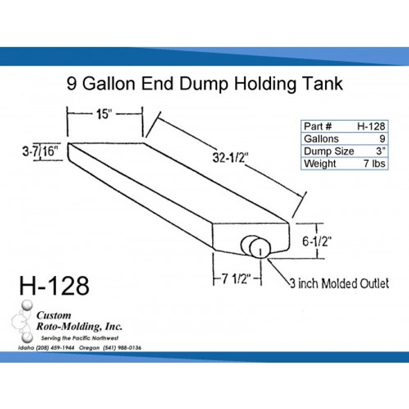 9 Gallon End Dump RV Holding Tank | H-128