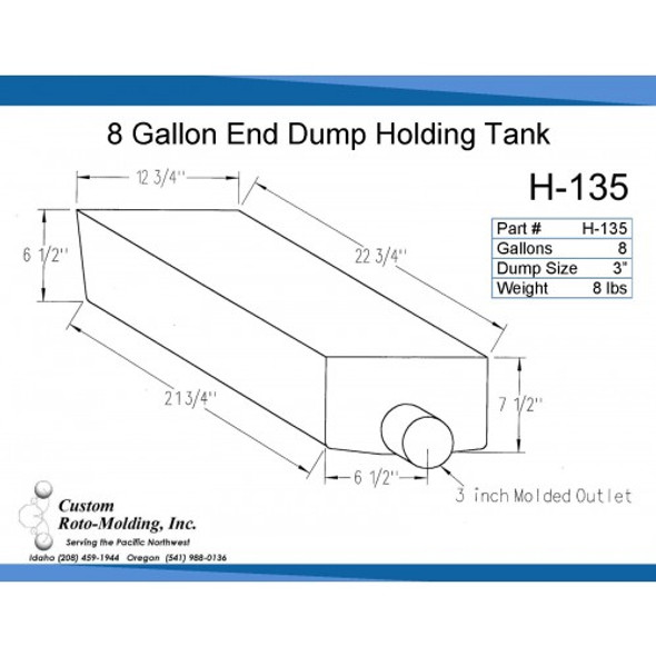 8 Gallon End Dump RV Holding Tank | H-135