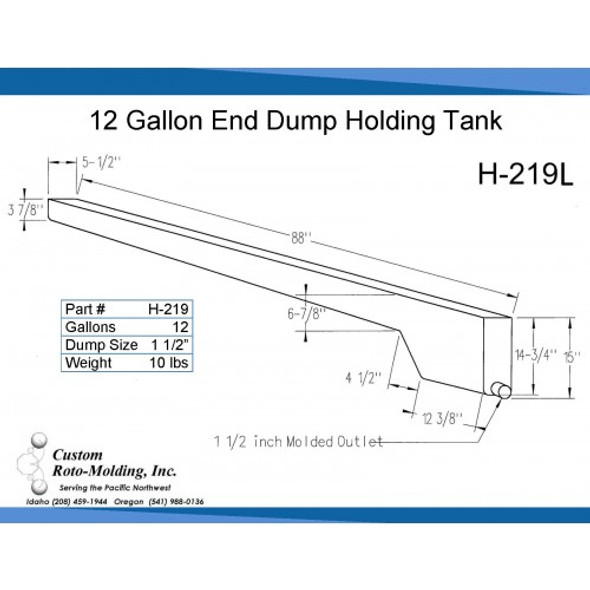 12 Gallon End Dump RV Holding Tank | H-219L