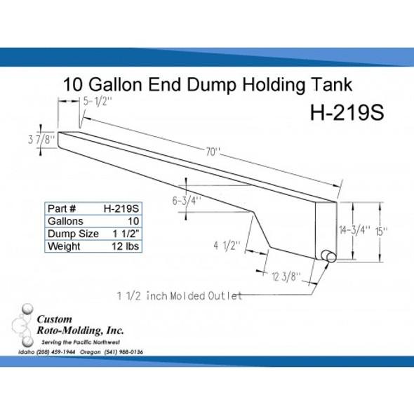 10 Gallon End Dump RV Holding Tank | H-219S