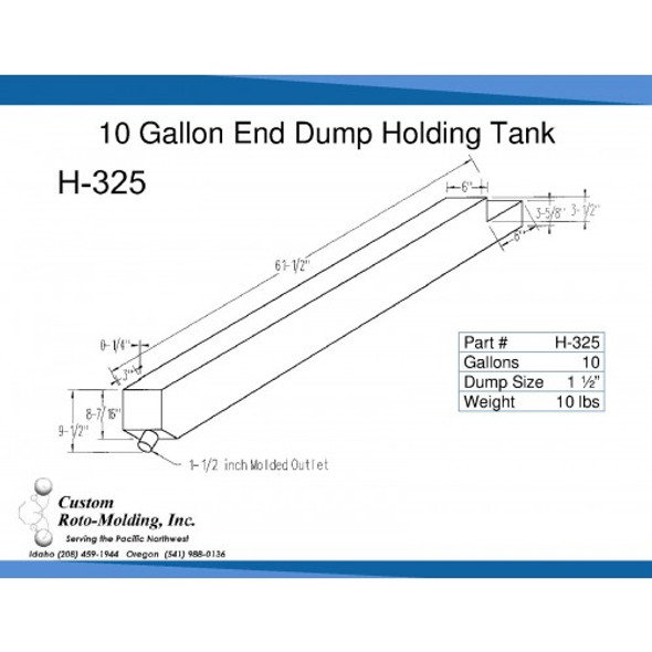 10 Gallon End Dump RV Holding Tank | H-325