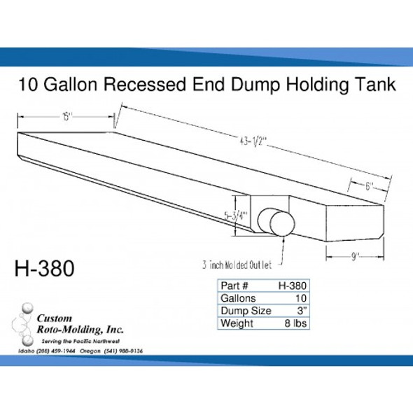 10 Gallon End Dump RV Holding Tank | H-380