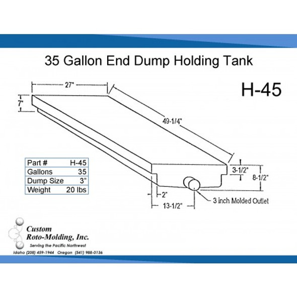 10 Gallon End Dump RV Holding Tank with Rails | H-45
