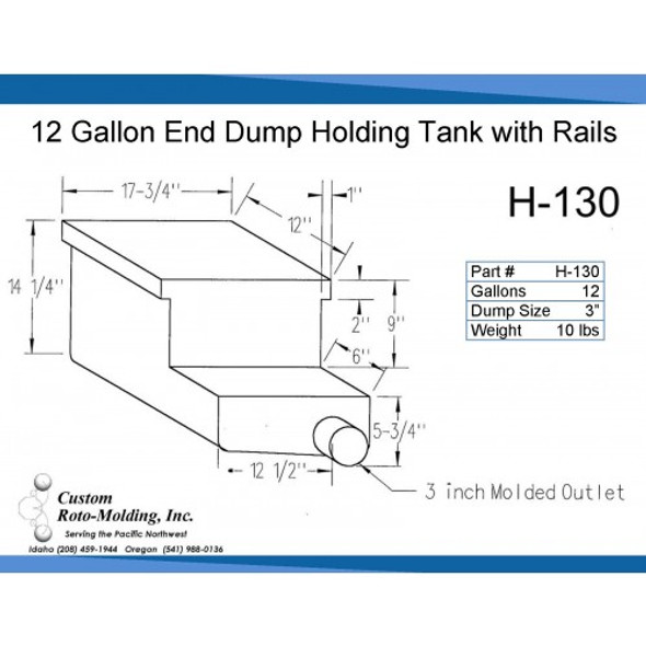 12 Gallon End Dump RV Holding Tank with Rails | H-130