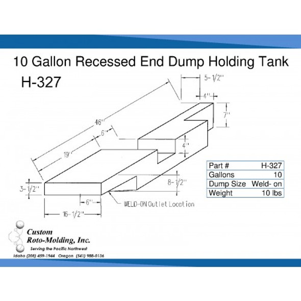 10 Gallon End Dump RV Holding Tank | H-327