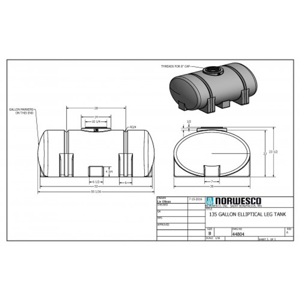 135 Gallon Elliptical Leg Tank | 44804
