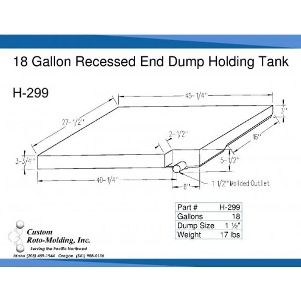 18 Gallon Side Dump RV Holding Tank   H-299