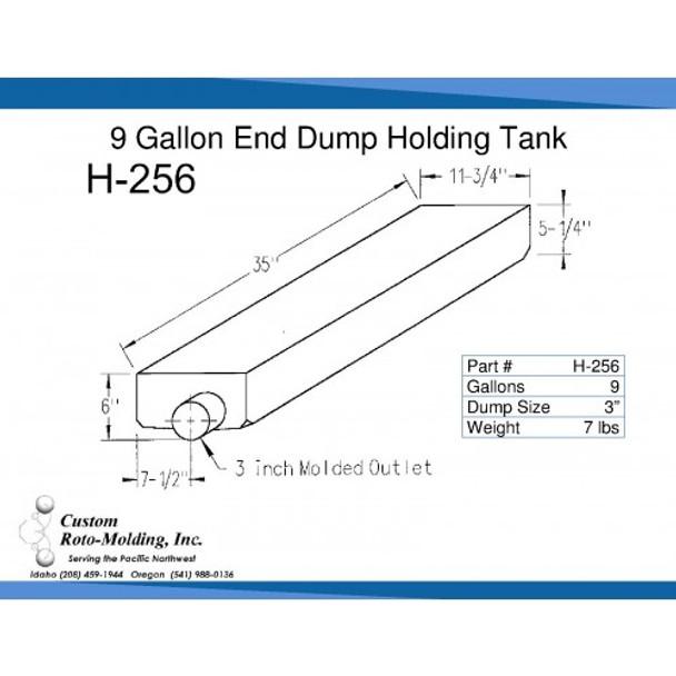9 Gallon End Dump RV Holding Tank   H-256