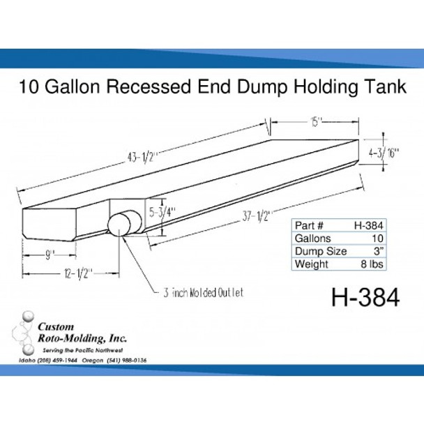 10 Gallon End Dump RV Holding Tank | H-384