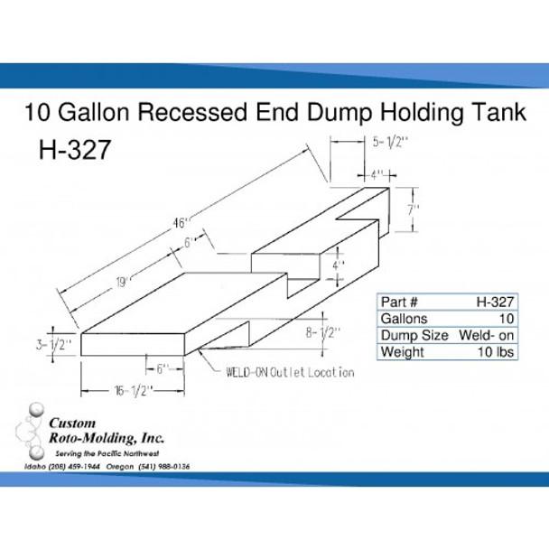 10 Gallon End Dump RV Holding Tank | H-327