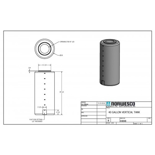 40 Gallon Vertical Storage Tank | 44848
