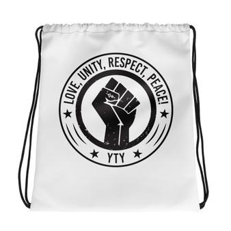 BL-Love, Unity, Respect & Peace Drawstring bag