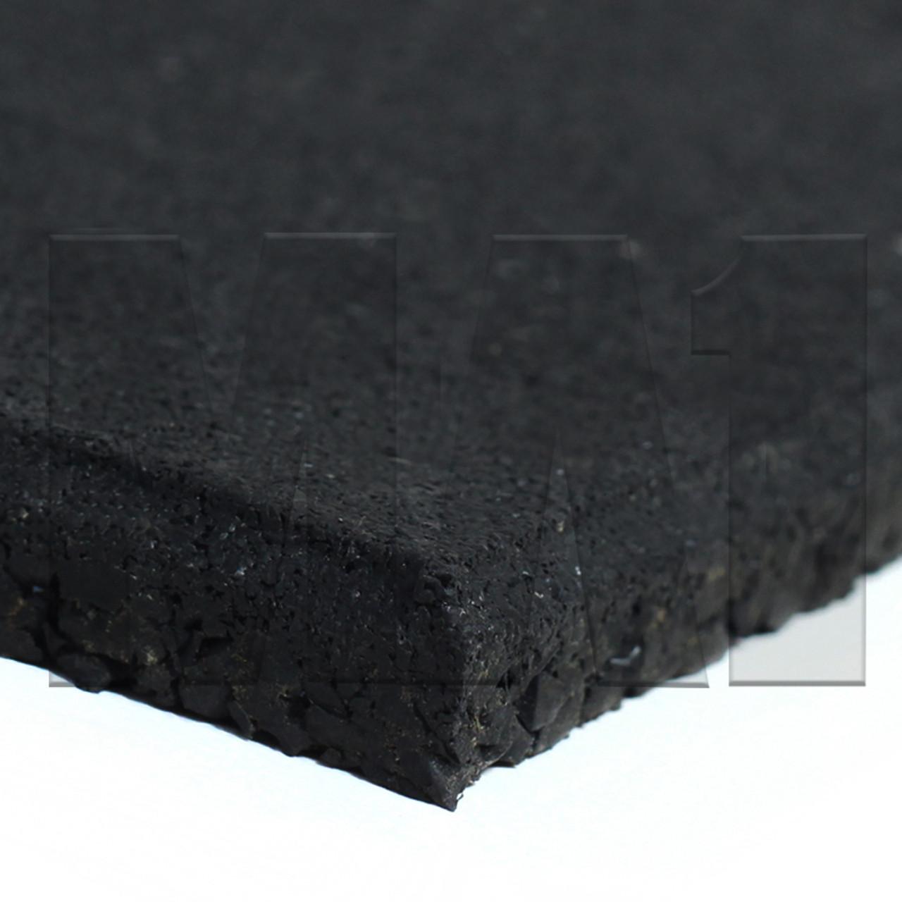 MA1 Rubber Gym Mat Flooring - 1M x 1M x 15mm, Plain Black