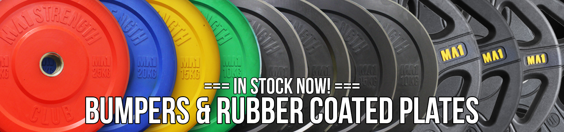 Bumpers and Rubber Coated Plates In Stock Now!