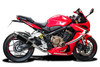 """Complete 4-1 De-Cat exhaust CBR650R (2019-2021) with DL10 14"""" Carbon Fiber Round Mufflers and Stainless Steel Headers"""
