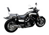 """Full System to fit VMX1200 V-MAX (1984-2007) with Mini 8"""" Stainless Steel Round Muffler and Chromed Mild Steel Header Set"""