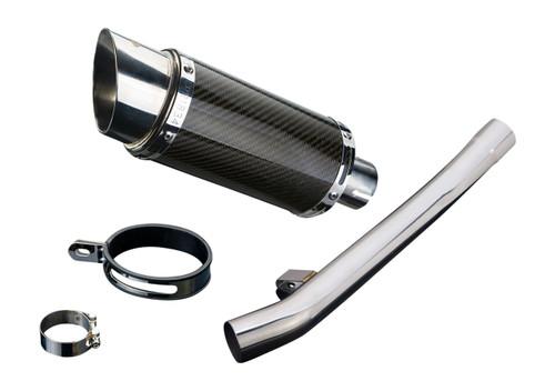 Delkevic Aftermarket Slip On compatible with Suzuki GSX750F Katana 750 Mini 8 Carbon Fiber Round Muffler 98-06