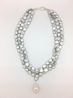 """Chunky 3 layer necklace with light grey pearls and a baroque pearl.  Total length 18"""" - 20"""""""