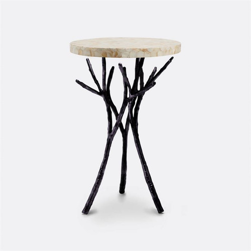 MG side table Ostrich egg rd wi/blk branch base