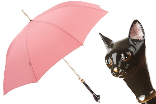 Pasotti Umbrella Coral with Cat Handle
