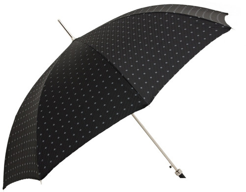 Pasotti Umbrella Black Embroidered with Leather Braided Handle