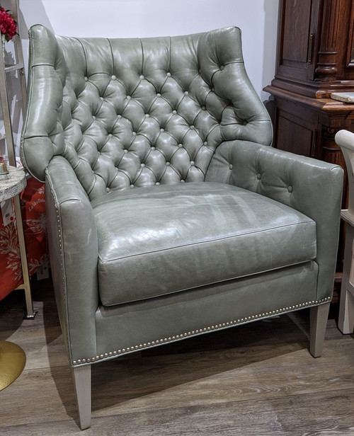 Tufted Leather Chair with Studs