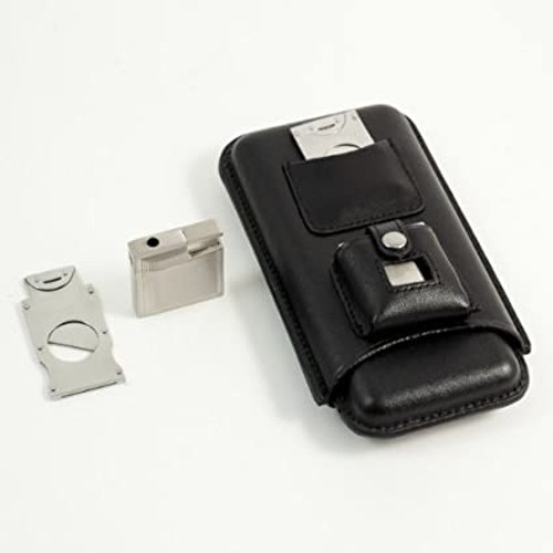 3 Cigar Holder  with a stainless steel  cigar cutter & lighter all in a black leather case.