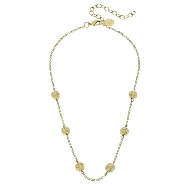 SS NK Hancast GLD St. beads on chain