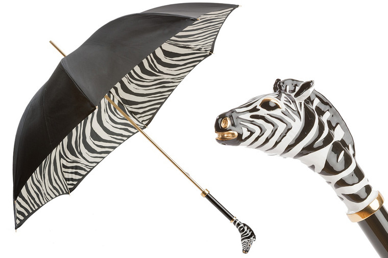 Pasotti Umbrella Double Black/Zebra Handle