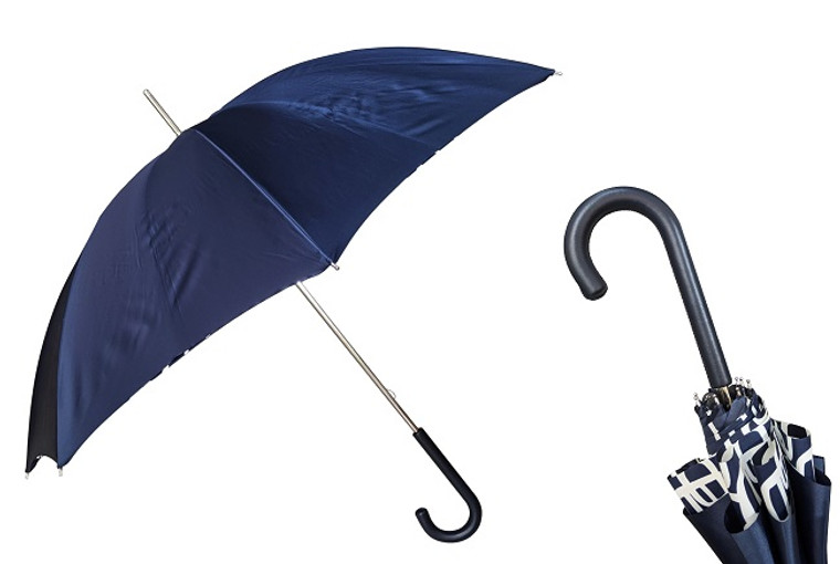 Pasotti Umbrella Double Navy/White Geometric Pattern