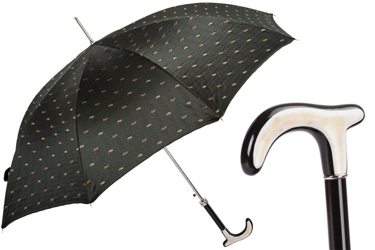 Pasotti Umbrella Embroidered Paisley with Water Buffalo Horn Handle