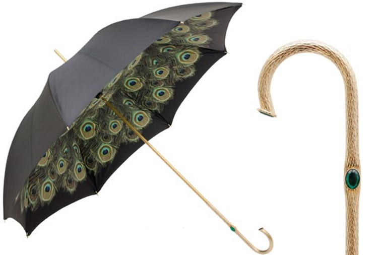 Pasotti Double Black umbrella with Peacock feather pattern in the interior
